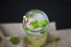 Mojito cocktail with ice, lime