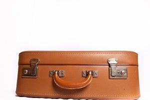 old suitcase on white background