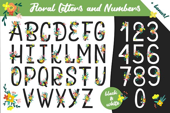 Floral Alphabet and Numbers in Illustrations