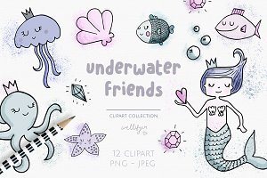 Mermaid doodle clipart collection