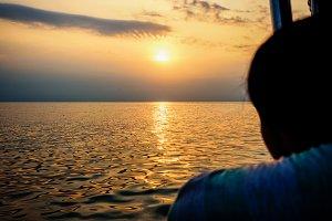 Woman watching the sunset
