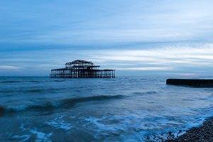 Old Brighton Pier at Sunset
