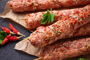 Minced meat skewers lula kebab