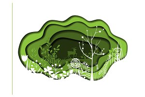 Paper art with forest. Vector plants and deer