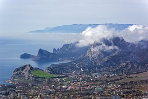 Mountains covered with clouds.Crimea