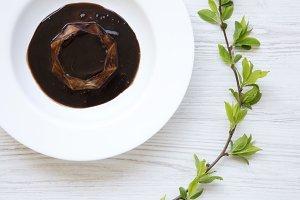 Panacotta dessert with chocolate
