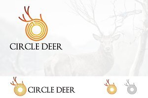 Abstract Horn Deer in Circle Logo