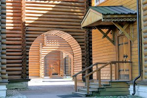 Russian wooden log house