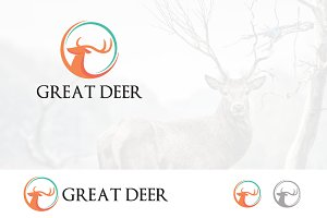 Roe Deer Logo Circle Head
