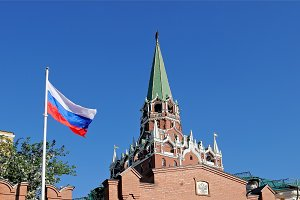 National flag of Russia in Kremlin
