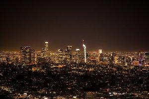 Los Angeles Skyline Lit Up at Night