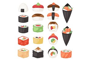 Japanese food vector sushi sashimi roll or nigiri and appetizer with seafood rice in Japan restaurant illustration Japanization cuisine set isolated on white background