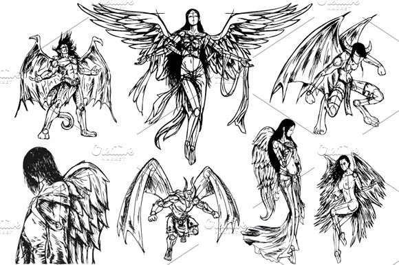 angels demons hand drawn sketch illustrations creative market