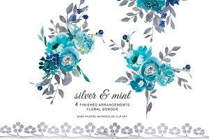 Watercolor Silver & Mint Flowers