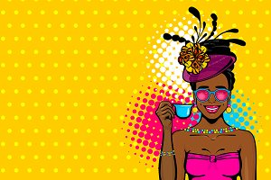 3 Afro girl Pop Art Layered vector
