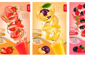 Label of peach juice splash. Vector