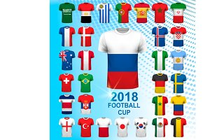 Set of football jerseys for 2018