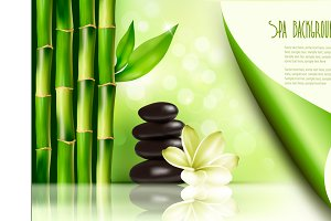 Spa background with bamboo and stone