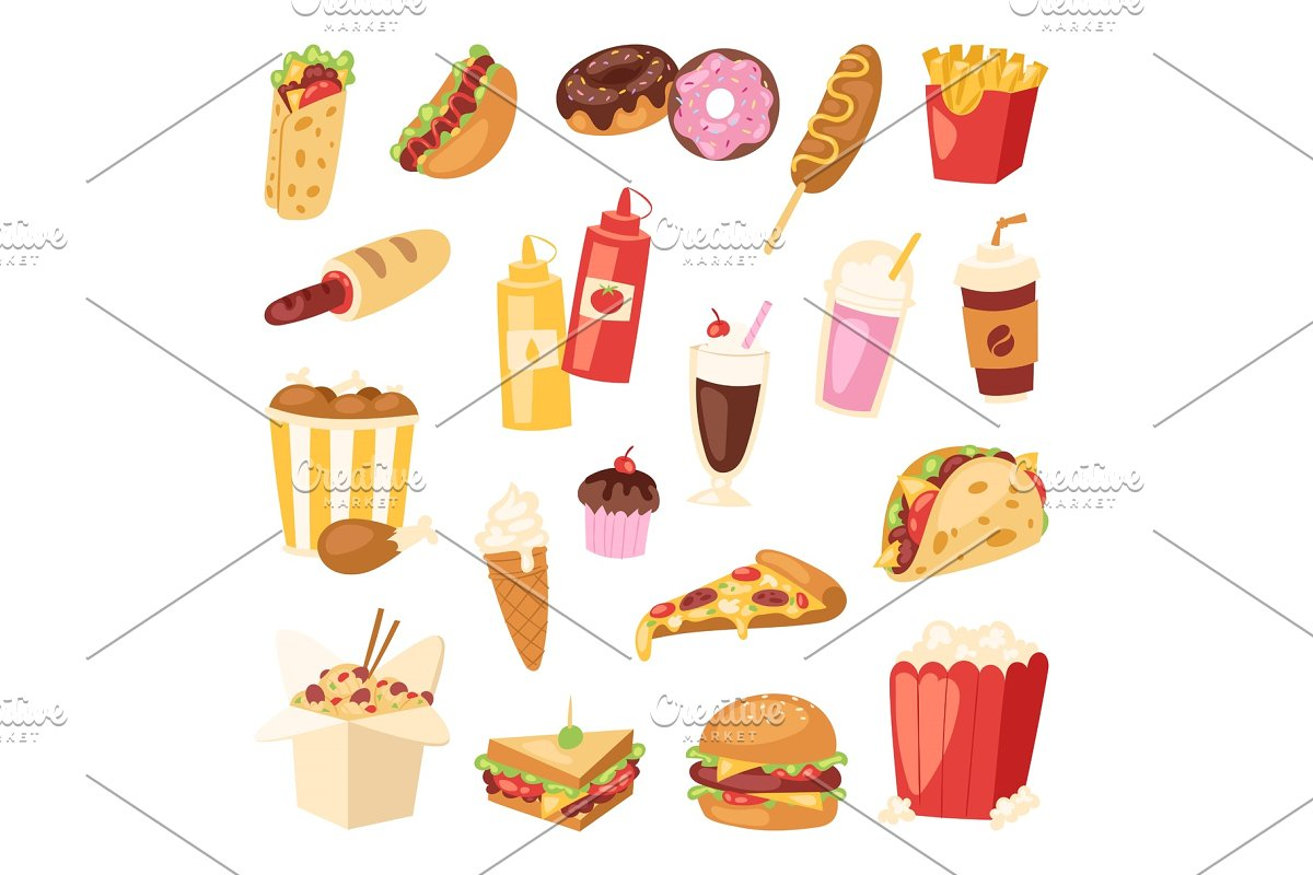 Fast food vector nutrition american hamburger or cheeseburger unhealthy  eating concept junk fast-food snacks burger or sandwich and soda drink