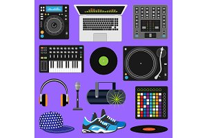 DJ music vector discjockey playing disco on turntable sound record set with headphones and players audio equipment for playback vinyl discs in nightclub isolated on background