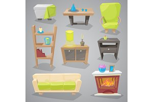 Furniture vector furnishings design of couch and sofa in furnished interior or armchair with chair for decoration in apartment or to furnish room set illustration isolated on background