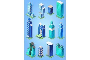 Building skyscraper in cityscape vector city skyline and business officebuilding of commercial company and build architecture to high sky set illustration isolated on background