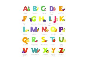 Fruit alphabet vector alphabetical vegetables font and fruity apple banana letter illustration alphabetically set of abc text with watermelon tomato and strawberry isolated on white background