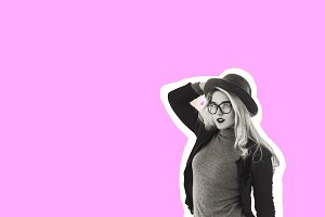 the girl in the hat. stylish girl in black and white. collage. pink background