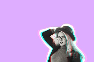 portrait of a girl. blonde in a hat looks away. pink color. effect of a glitch. collage
