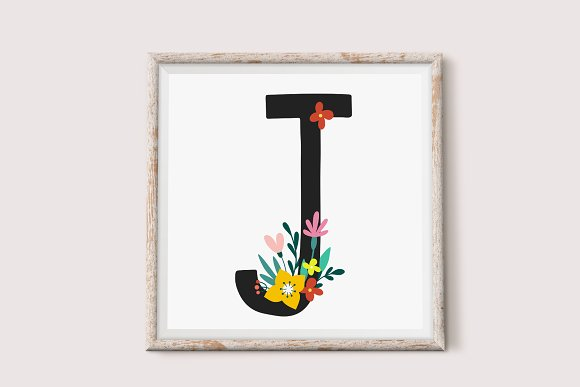 Floral Alphabet and Numbers in Illustrations - product preview 1