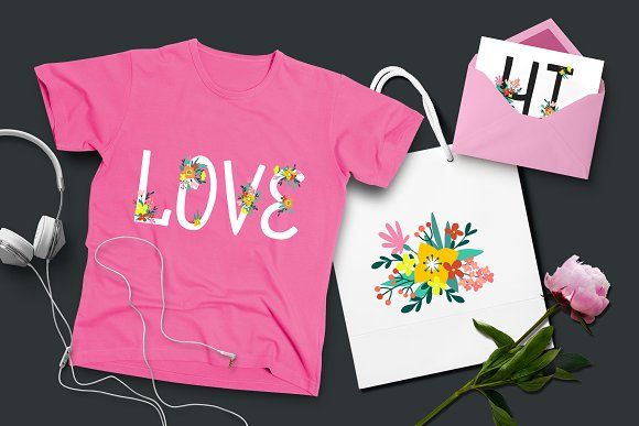 Floral Alphabet and Numbers in Illustrations - product preview 2