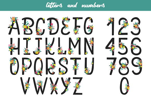 Floral Alphabet and Numbers in Illustrations - product preview 6