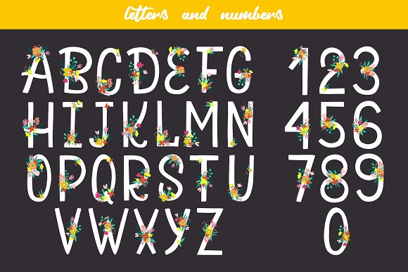 Floral Alphabet and Numbers in Illustrations - product preview 7