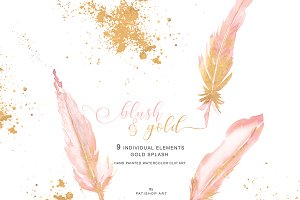Blush & Gold Feather Clipart