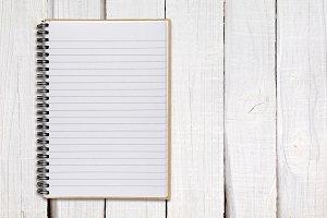 Notepad on white wood