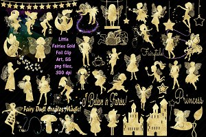 Little Fairies Gold Foil Clip Art