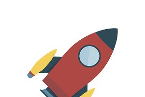 Illustration of red space rocket