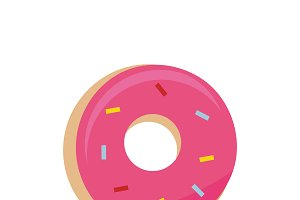 Illustration of pink doughnut