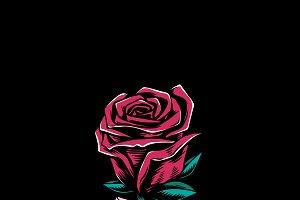 Illustration of red rose affection