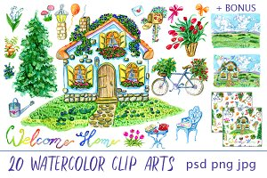 Cute house clip art set 2