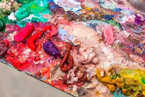 oil paints on the palette
