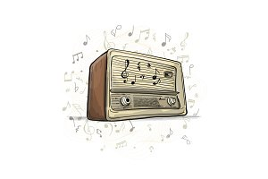 Retro radio, sketch for your design