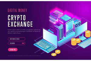 Web design of page for crypto exchange