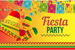 Bright poster for Fiesta party promotion
