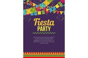 Bright poster inviting to Fiesta party