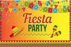 Bright poster of fiesta party on yellow