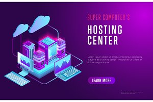 Colorful web design about hosting center