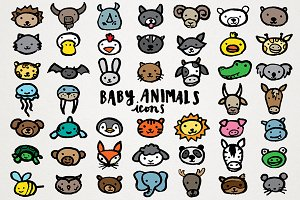 Baby Animals Icons Clipart