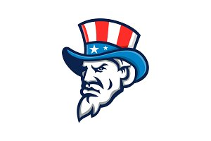 Uncle Sam Wearing USA Top Hat Mascot