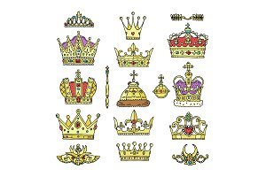 Crown vector golden royal jewelry symbol of king queen and princess illustration sign of crowning prince authority set of crown jeweles isolated on white background